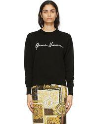 Versace ブラック ロゴ セーター