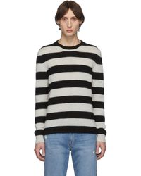 Eidos Black And White Striped Mohair Sweater