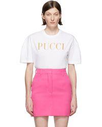 Emilio Pucci - White Glitter Logo T-shirt - Lyst