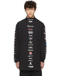 Balenciaga ブラック ロゴ リスト ロング スリーブ T シャツ