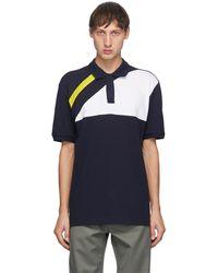 GR10K ネイビー Hakit パネル ポロシャツ - ブルー