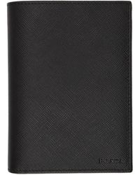 Prada - Black Saffiano Passport Holder - Lyst