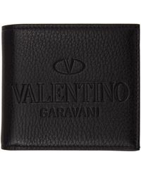 Valentino Garavani ブラック ロゴ バイフォールド ウォレット