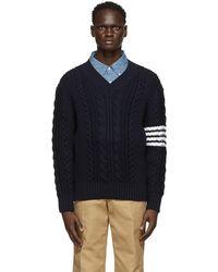 Thom Browne ネイビー Aran 4bar V ネック セーター - ブルー