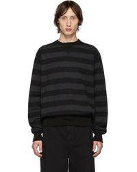 Junya Watanabe ブラック And グレー ストライプ クルーネック セーター