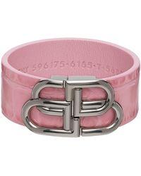 Balenciaga ピンク クロコ ラージ Bb ブレスレット