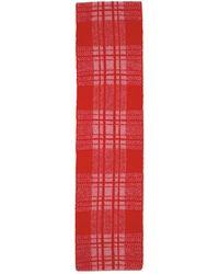 Molly Goddard Pink & Red Wool Tartan Alfie Scarf