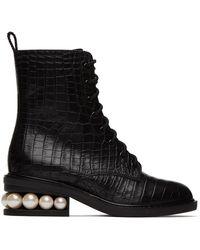 Nicholas Kirkwood - Black Croc Casati Pearl Combat Boots - Lyst