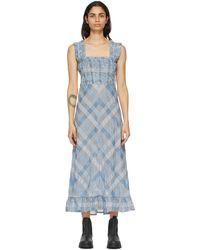 Ganni - ブルー Seersucker チェック ロング ドレス - Lyst