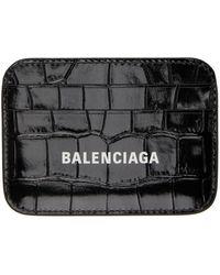Balenciaga ブラック クロコ Cash カード ケース