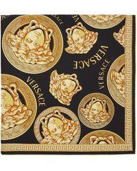 Versace Foulard en soie noir et doré Medusa Amplified - Multicolore
