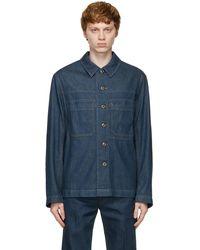 Lemaire - ブルー デニム オーバーシャツ ワークウェア ジャケット - Lyst