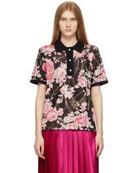 Commission ブラック & ピンク ポロシャツ