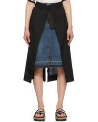 Sacai - ブラック And ブルー Suiting スカート - Lyst