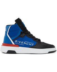 Givenchy ブラック And ブルー ウィング ハイ スニーカー