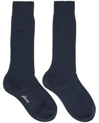 Brioni Navy Wool Socks - Blue