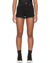 Versace Jeans Couture ブラック デニム トロピカル パッチ ショーツ