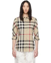 Burberry Beige Ip Check Shirt - Natural