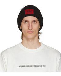 424 ブラック リブ ロゴ ビーニー