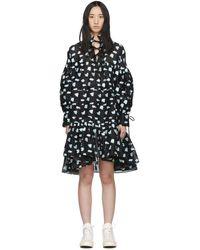 Cecile Bahnsen ブラック And ブルー シルク オーバーサイズ Macy シャツ ドレス