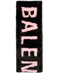 Balenciaga Black And Pink Faux-fur Giant Scarf