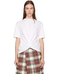 R13 - White Twisted Front T-shirt - Lyst
