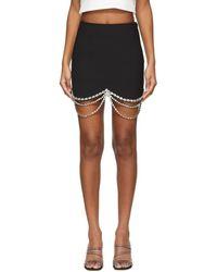 Area Black Draped Crystal Scallop Miniskirt