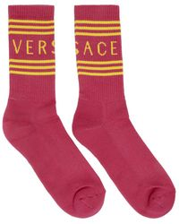 Versace - ピンク And イエロー ロゴ ソックス - Lyst