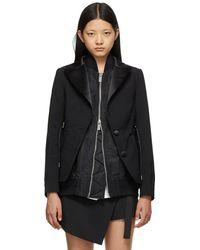 Sacai Suiting Mix Blazer - Black