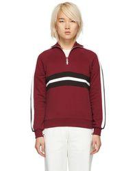 Harmony Burgundy Striped Sidonie Zip Sweater - Red