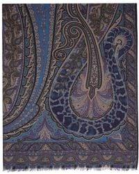 Etro マルチカラー カシミア スカーフ - ブルー