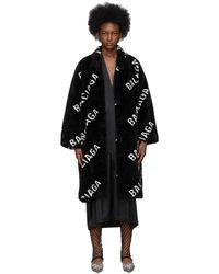 Balenciaga Black Faux-fur Logo Opera Coat