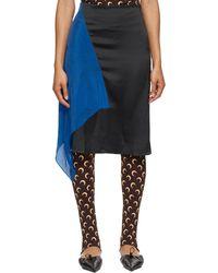 Marine Serre ブラック & ブルー Hanging Silk Scarf スカート