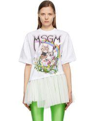 MSGM White Tulle Cat Logo T-shirt
