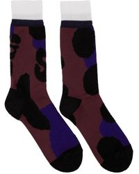 Sacai Burgundy Leopard Socks - Blue