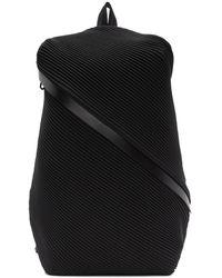Pleats Please Issey Miyake Black Single Zip Bias Pleats Backpack