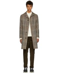 AMI - Black And Beige Houndstooth Check Belted Coat - Lyst