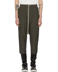 Rick Owens - Grey Drawstring Cropped Trousers - Lyst