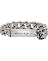 Alexander McQueen Silver Identity Bracelet - Metallic