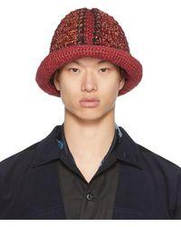 Nicholas Daley Red & Black Hand-crocheted Bucket Hat