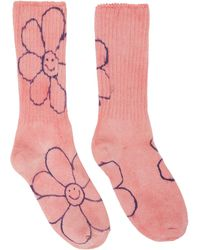 Collina Strada Chaussettes roses et bleues Happy Flowers