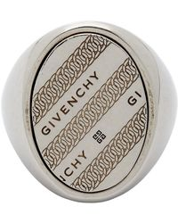 Givenchy Silver Chain Chevalier Ring - Metallic