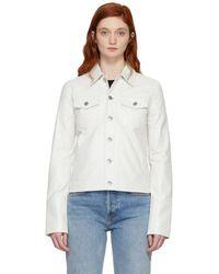Helmut Lang - White Denim Detailed Leather Jacket - Lyst