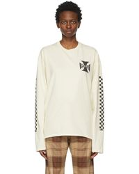 Rhude Off- Classic Checkers Long Sleeve T-shirt - White