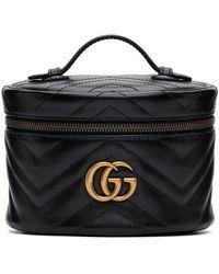 Gucci ブラック GG Marmont 2.0 ジップ アラウンド コスメティック バッグ
