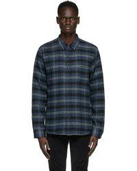 FRAME ネイビー チェック Single Pocket シャツ - ブルー