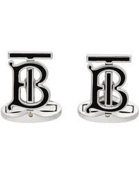 Burberry ブラック & シルバー Motif モノグラム カフリンク - メタリック