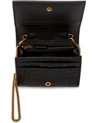 Saint Laurent Black Croc Chain Card Case Bag