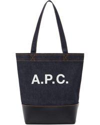 A.P.C. ネイビー スモール Axelle トート - ブルー