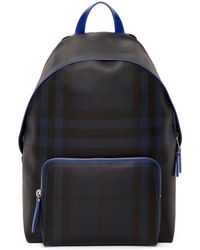 Burberry - Navy And Blue London Check Backpack - Lyst